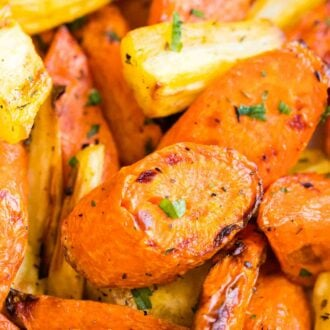 Close up of Air Fryer Roasted Carrots