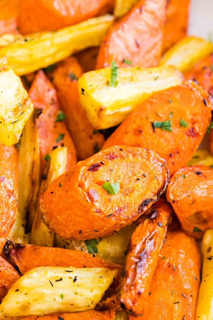 A Close up shot of Roasted Carrots
