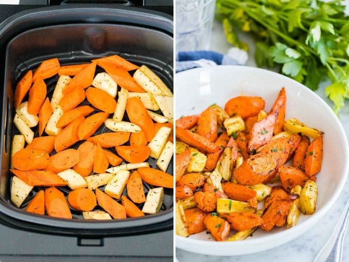How to make Air Fryer Roasted Carrots Collage