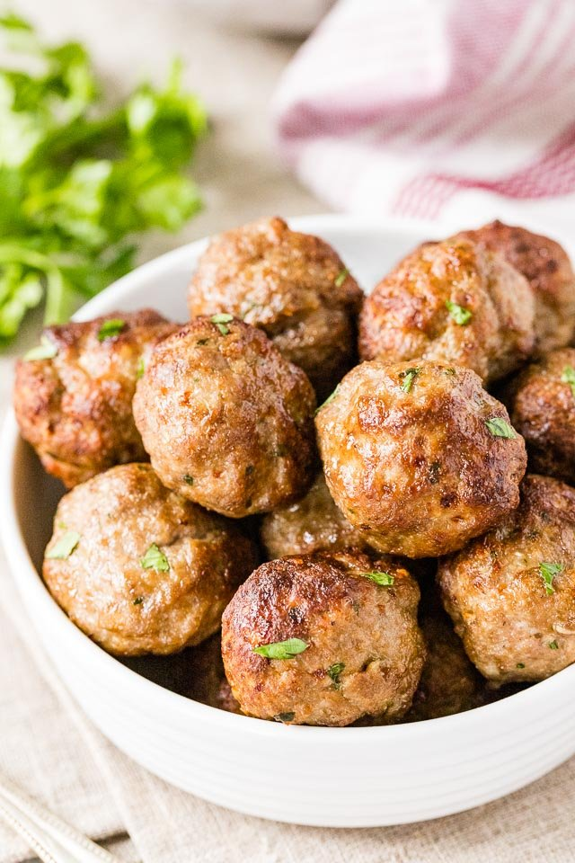 Meatballs garnished with parsley