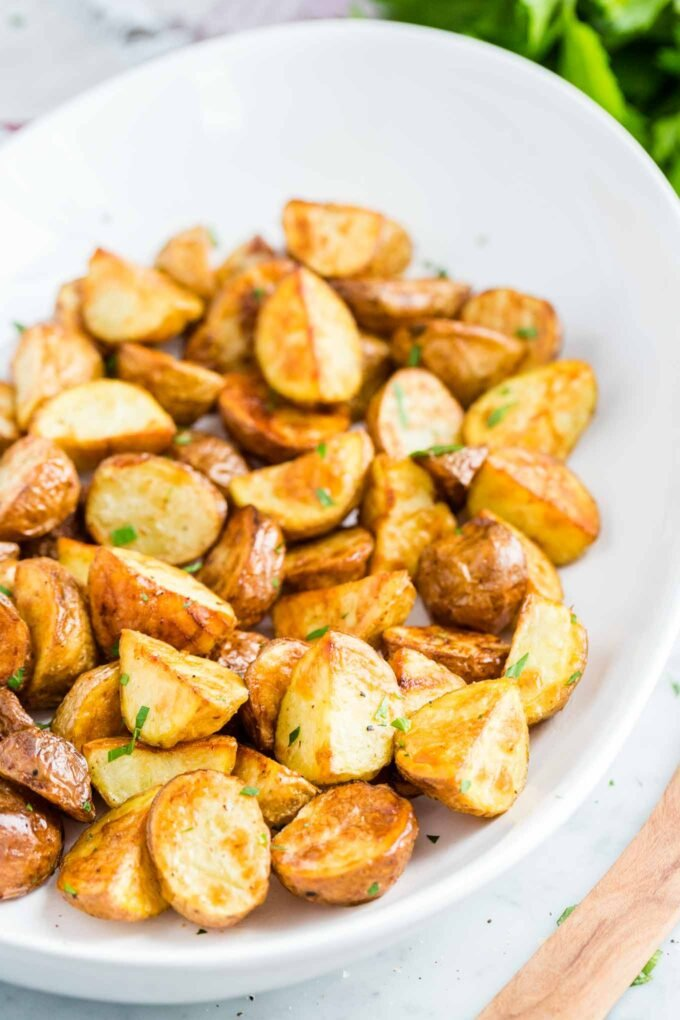 Roasted Potatoes sprinkled with parsley