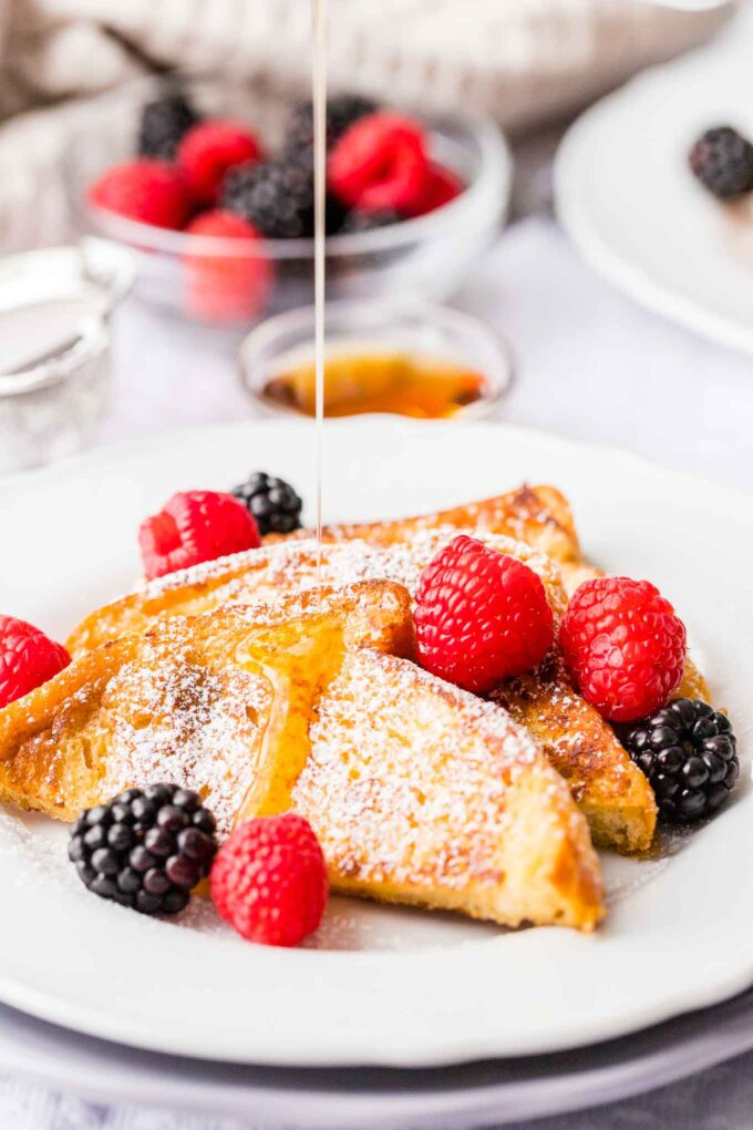 Brioche French Toast drizzled with maple syrup