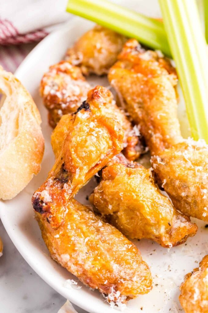 Garlic Parmesan Chicken Wings on a plate