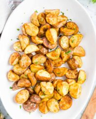 Roasted potatoes on a serving plate
