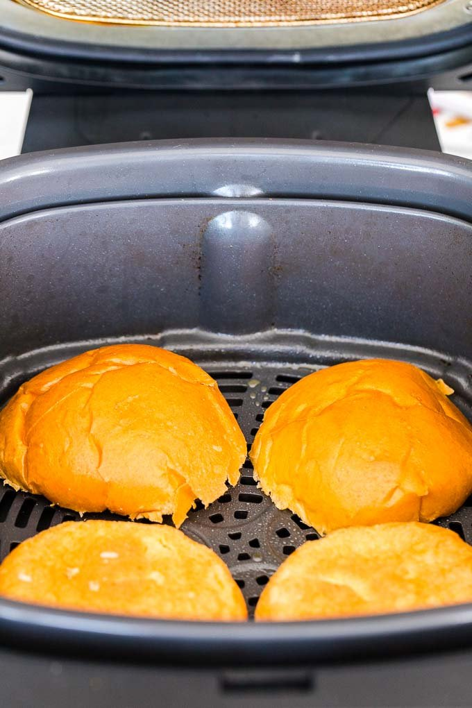 Hamburger buns in the Air Fryer Basket