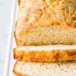 Sliced bread on a serving platter