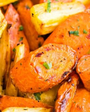 Close up shot of roasted carrots