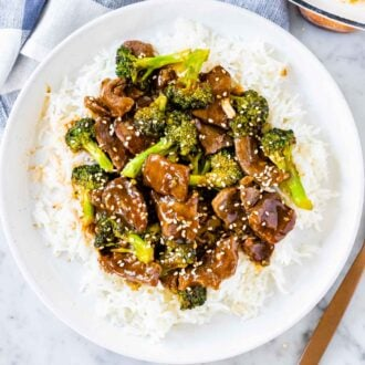 Beef and Broccoli on a plate with rice
