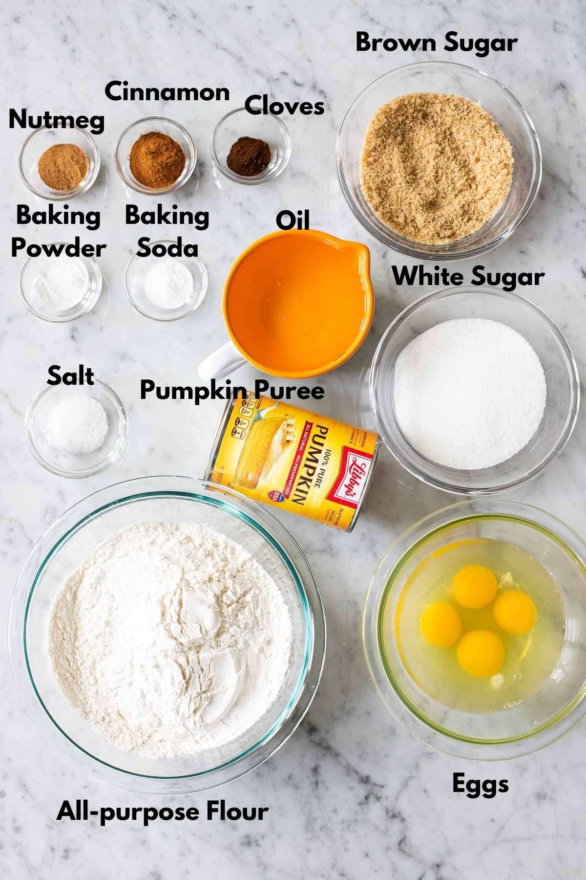 Ingredients used for pumpkin bread
