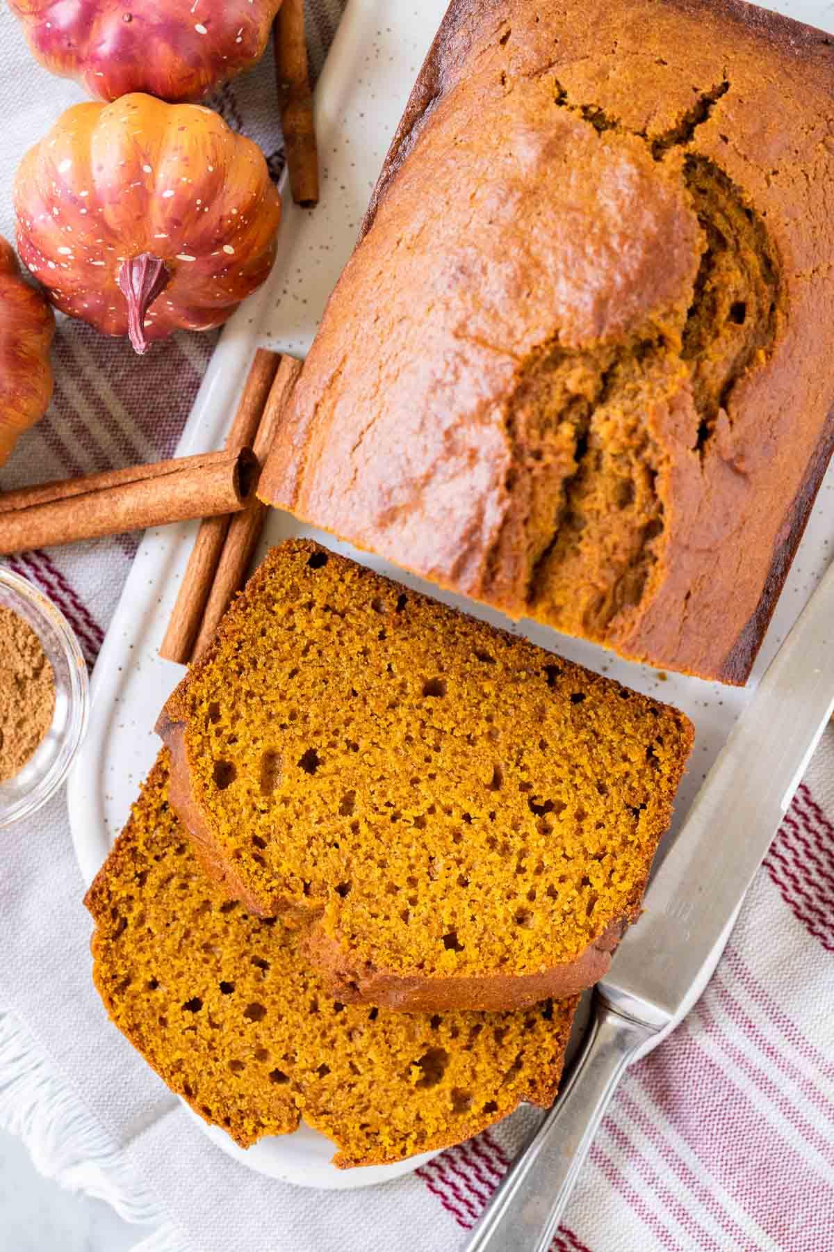 Slices of pumpkin bread on a serving platter
