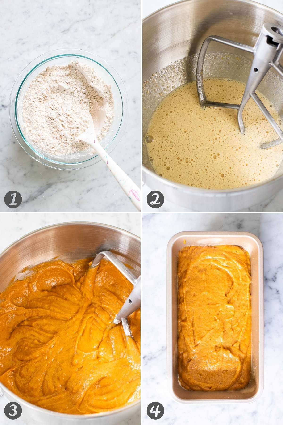 Collage of steps for pumpkin bread