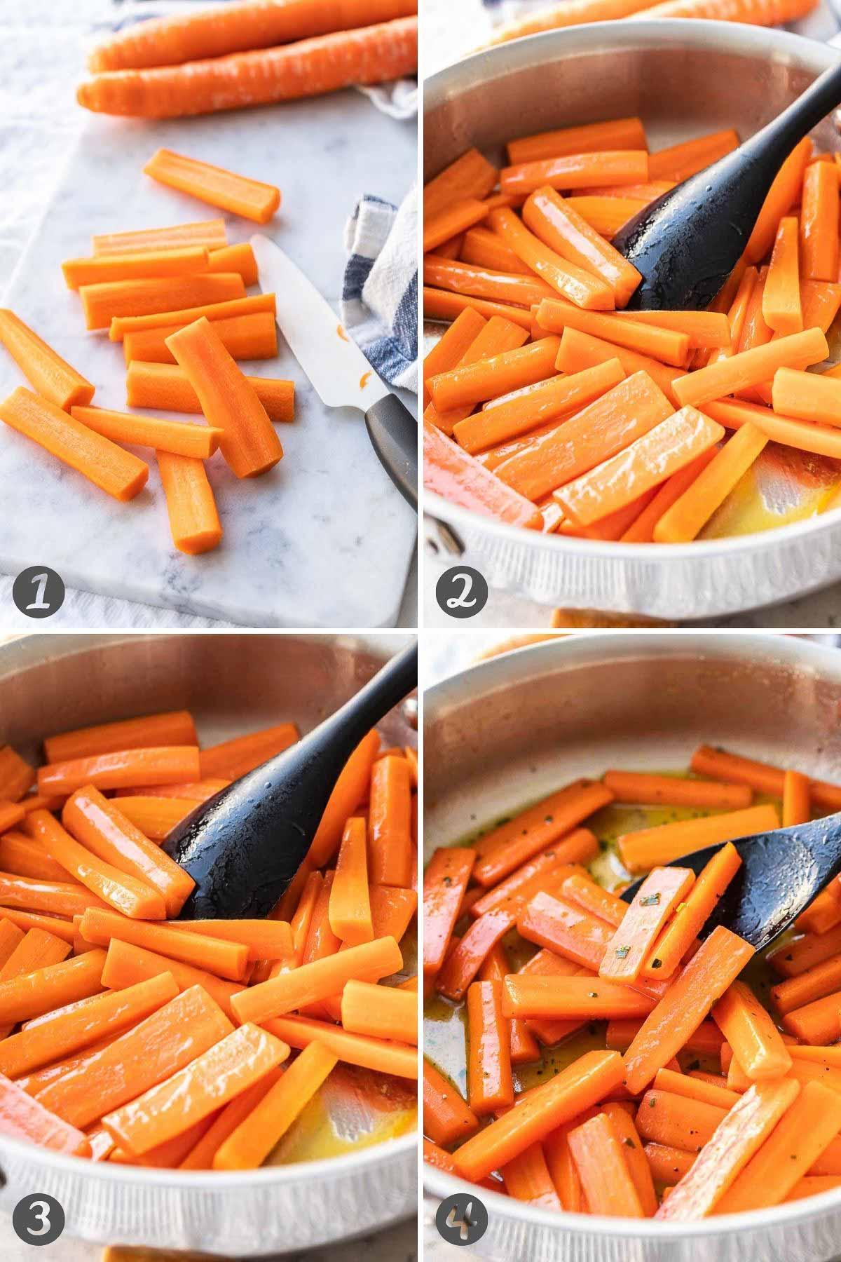 Collage of steps for honey glazed carrots
