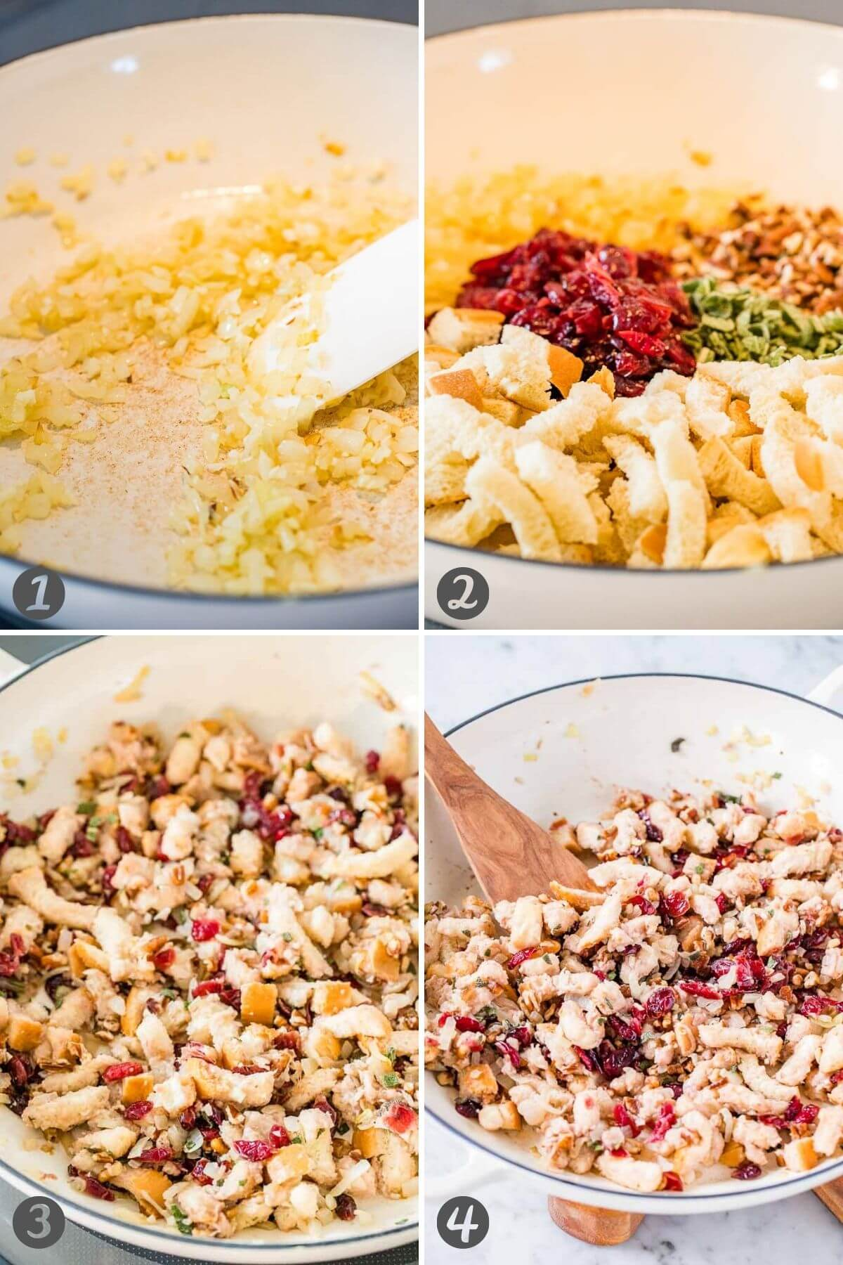 Step by step instructions for how to make stuffing