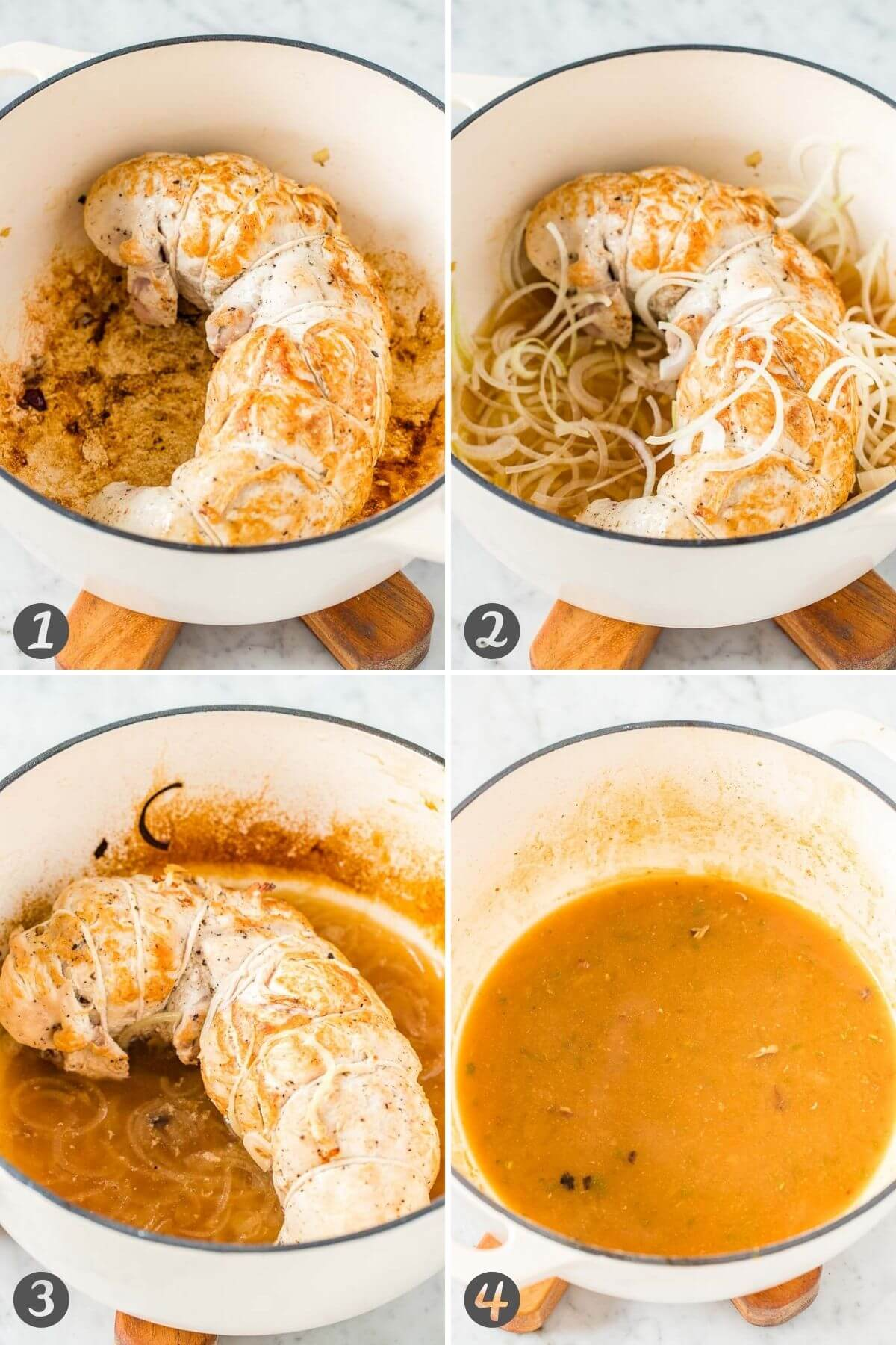 Step by step instructions for roasting a turkey roulade and making the gravy