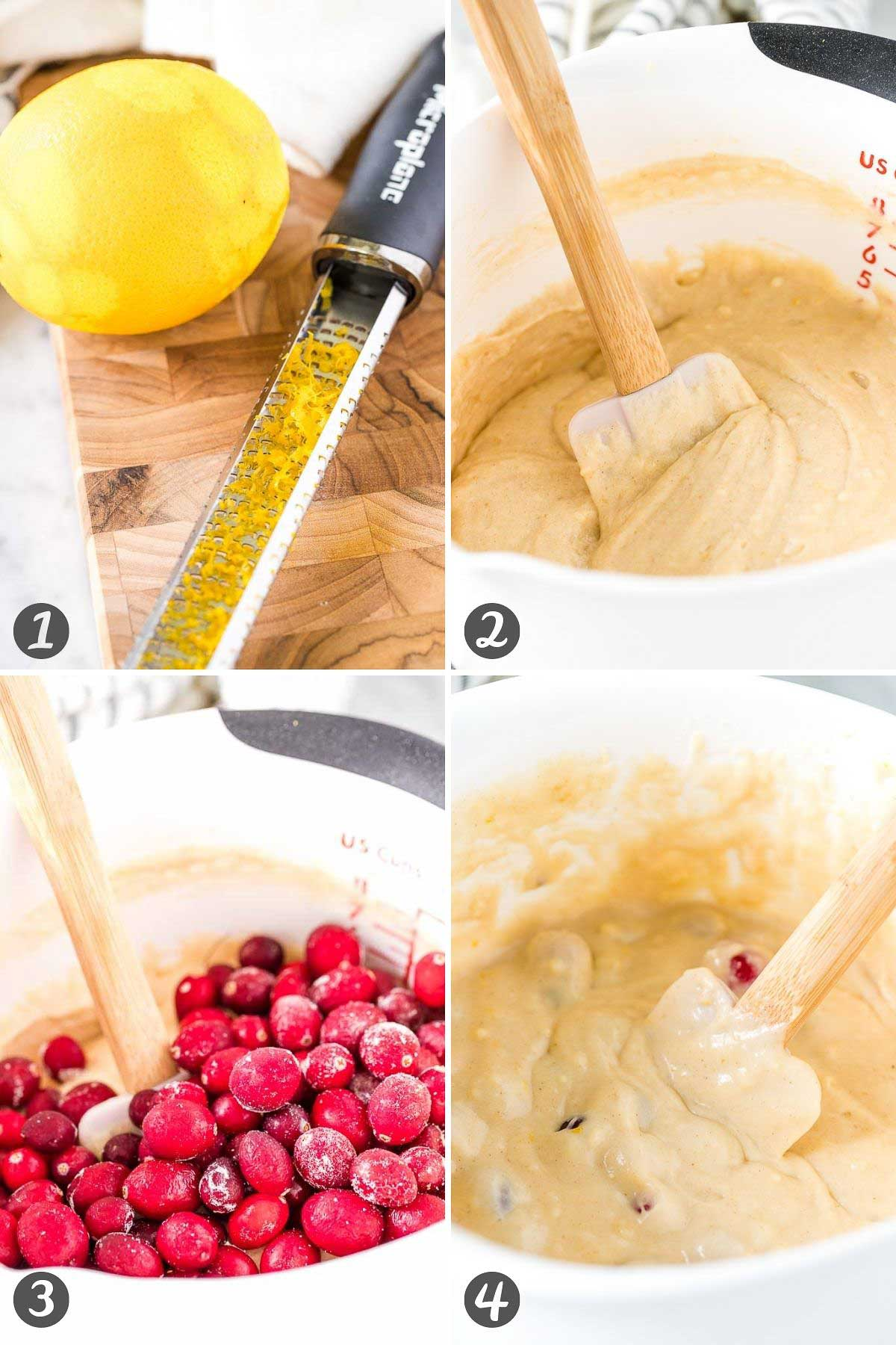 Step by step collage on how to make muffins