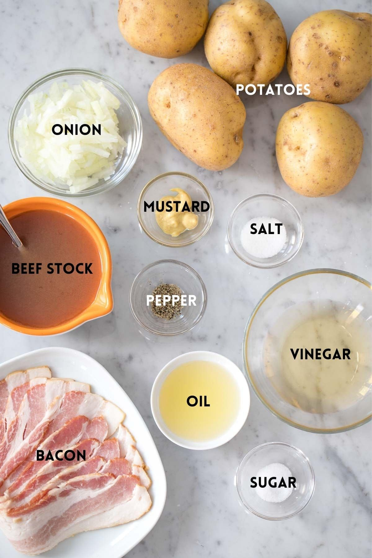 Ingredients needed for potato salad
