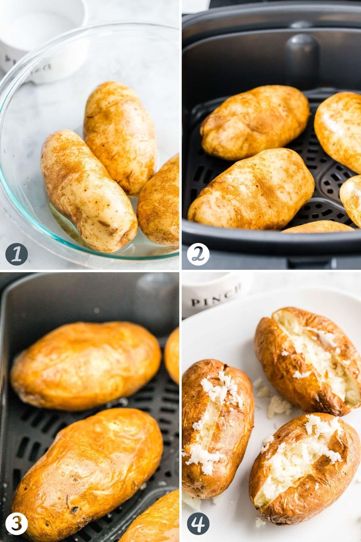 Steps for making baked potatoes in the Air Fryer