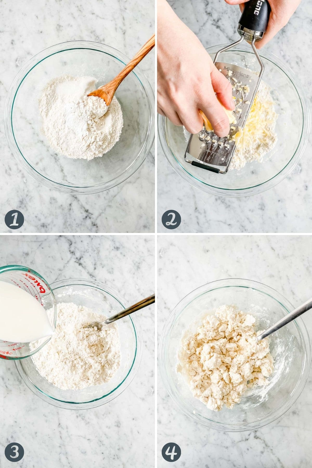 Collage on how to make biscuit dough from scratch