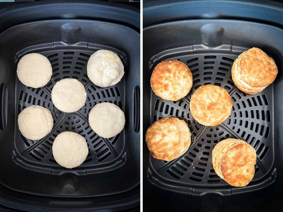 Biscuits in Air Fryer Basket