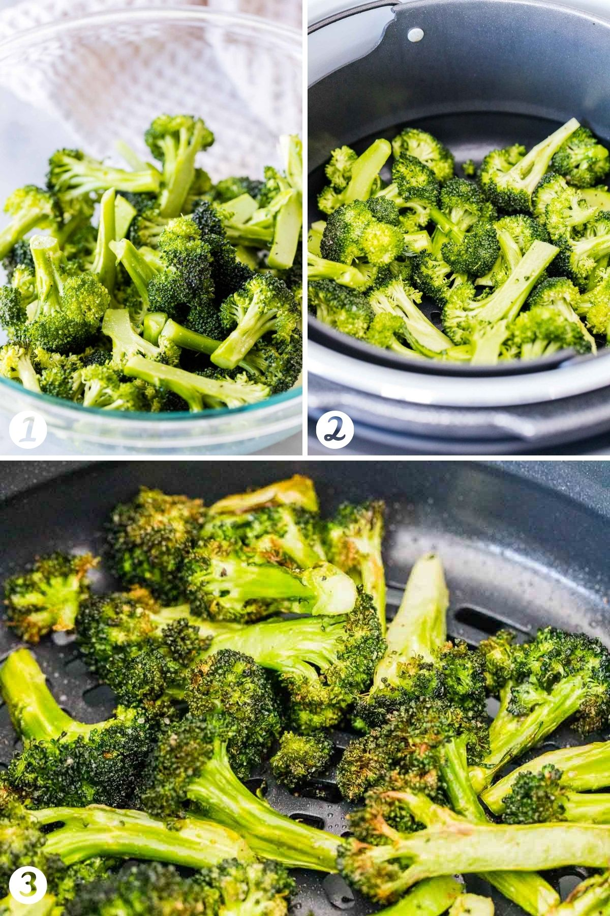 Steps for making broccoli in an Air Fryer
