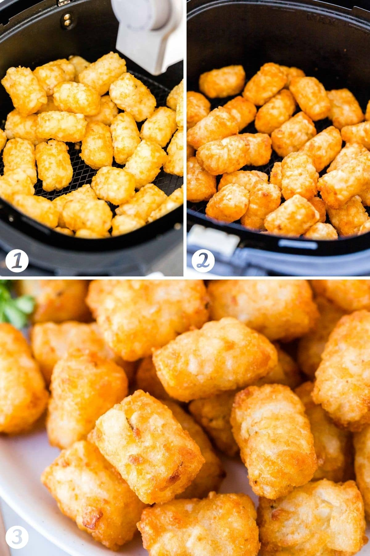 Steps for making frozen tater tots in the Air Fryer