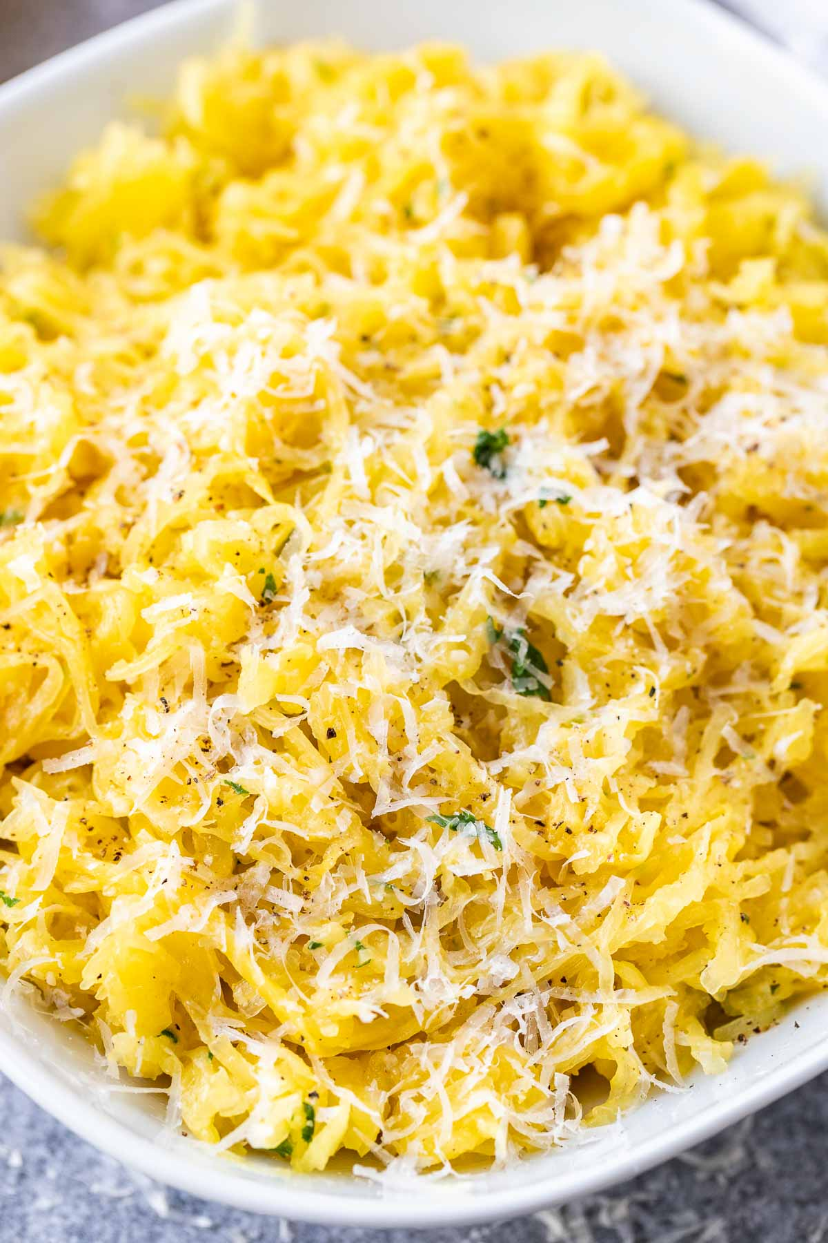 A close up of baked spaghetti squash