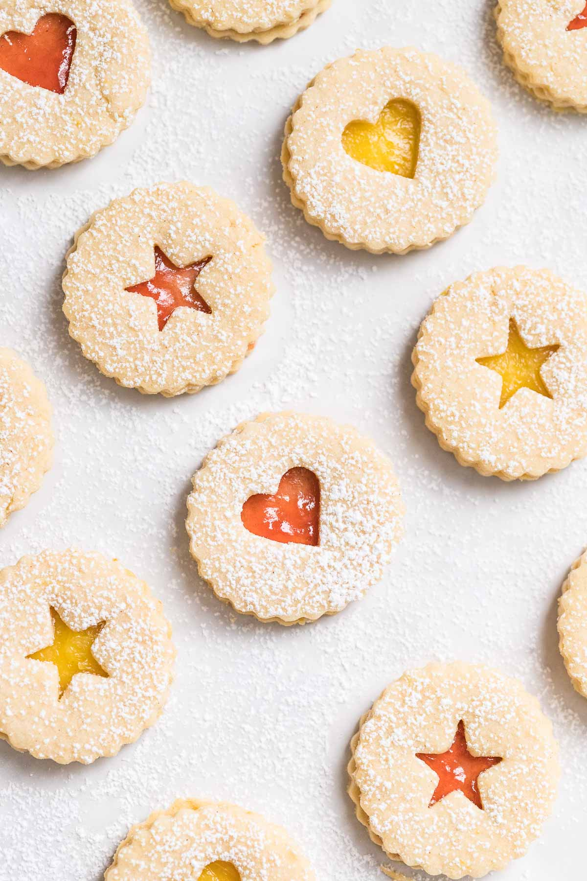 Linzer cookies on parchment paper