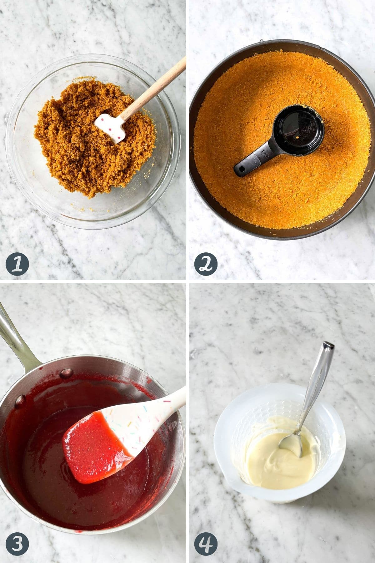 Steps for making this cheesecake recipe