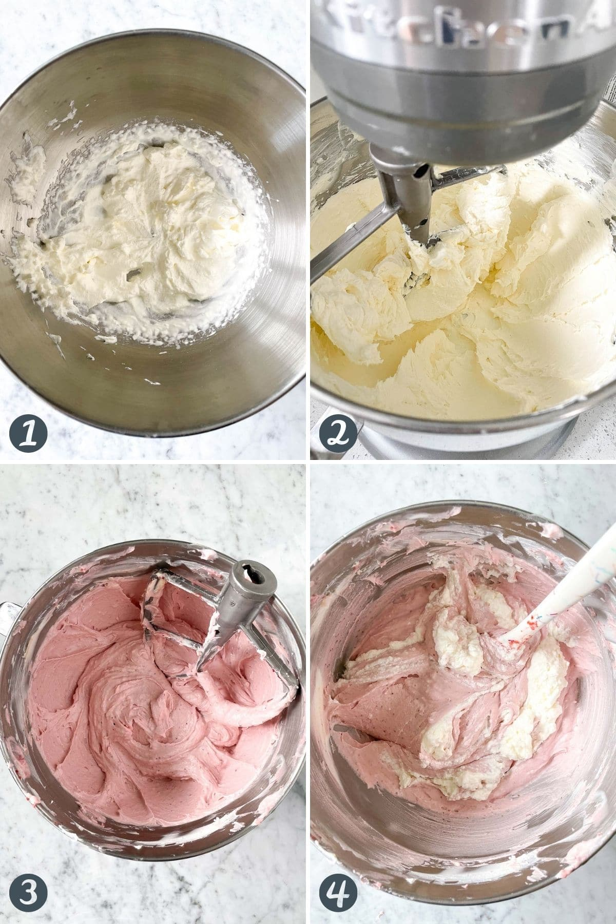 Steps for making the cheesecake filling