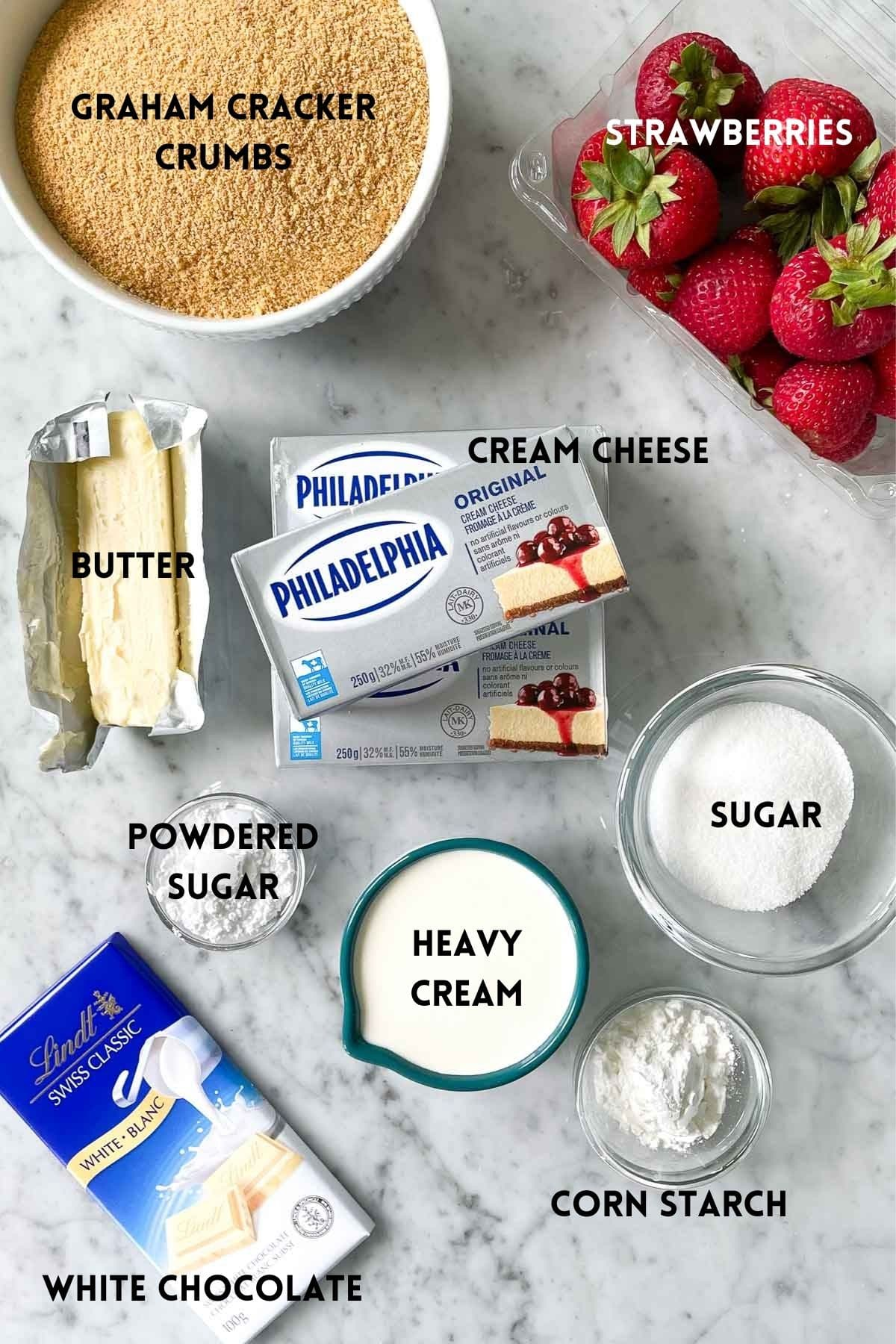 Ingredients for a No-Bake Strawberry Cheesecake