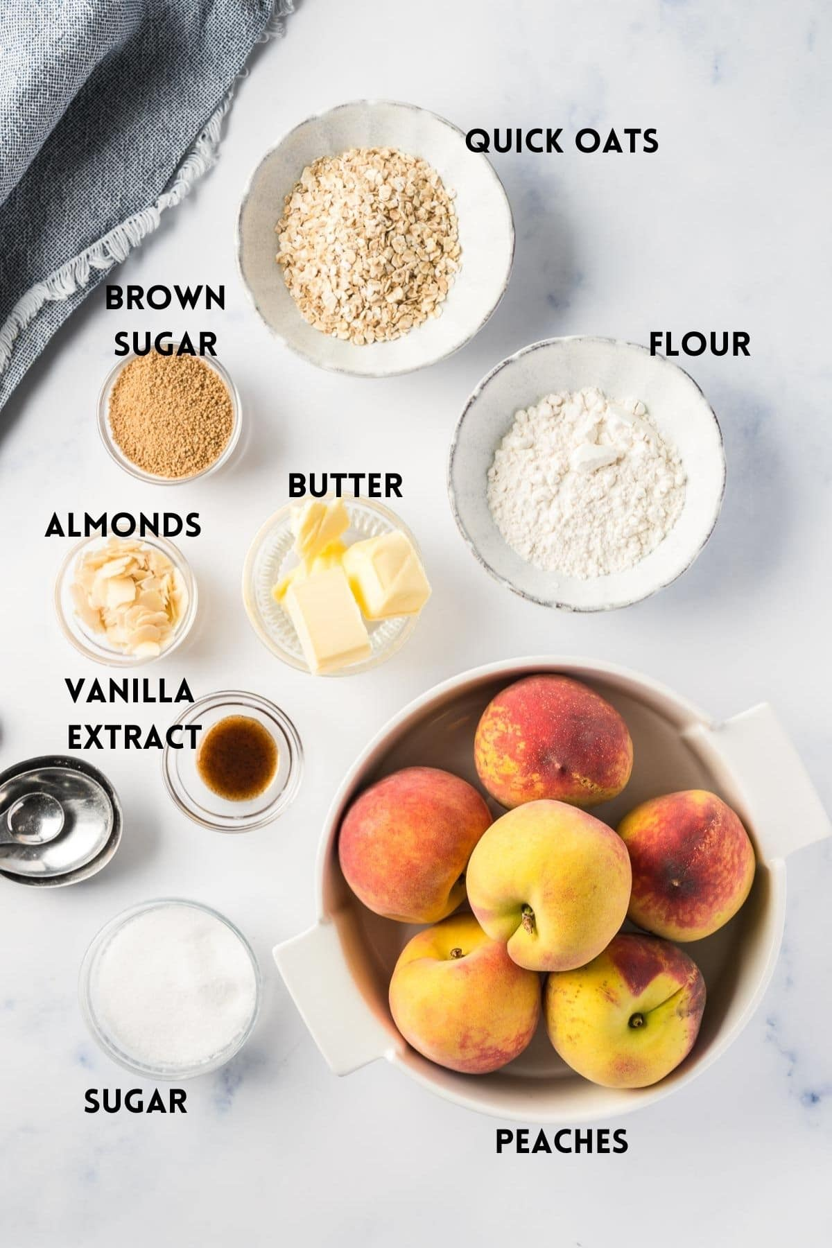 Ingredients needed for Air Fryer Peach Crisp