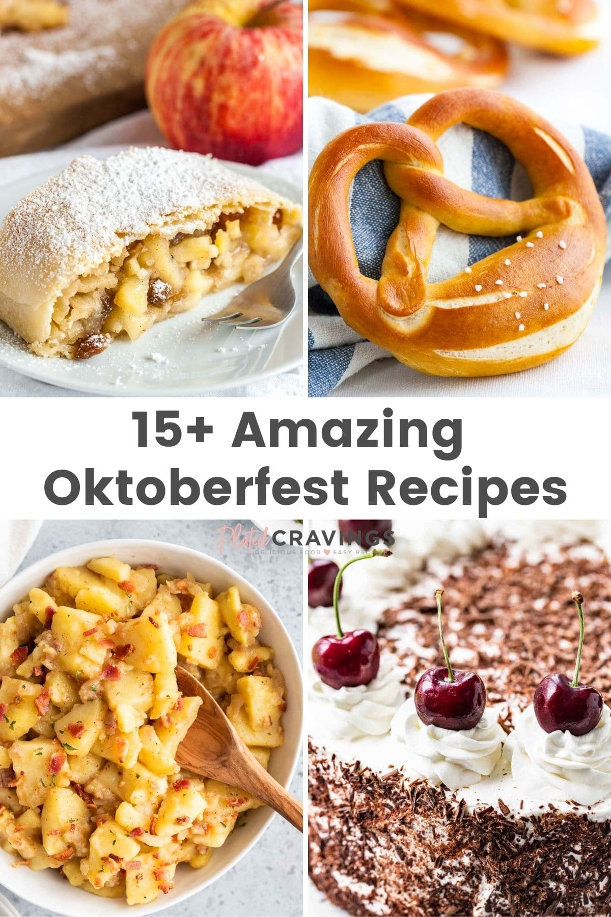 Four images of classic Bavarian food