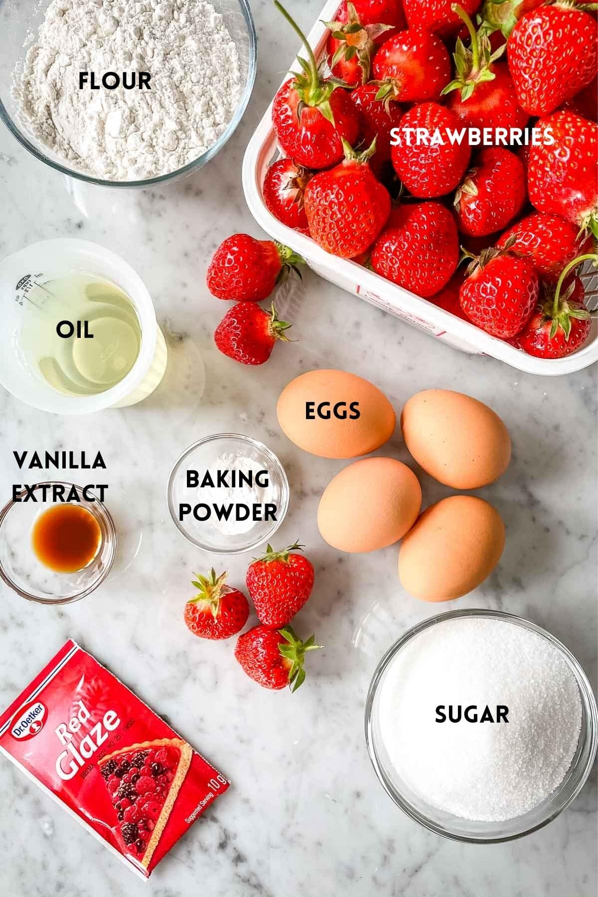 Ingredients for making a strawberry cake