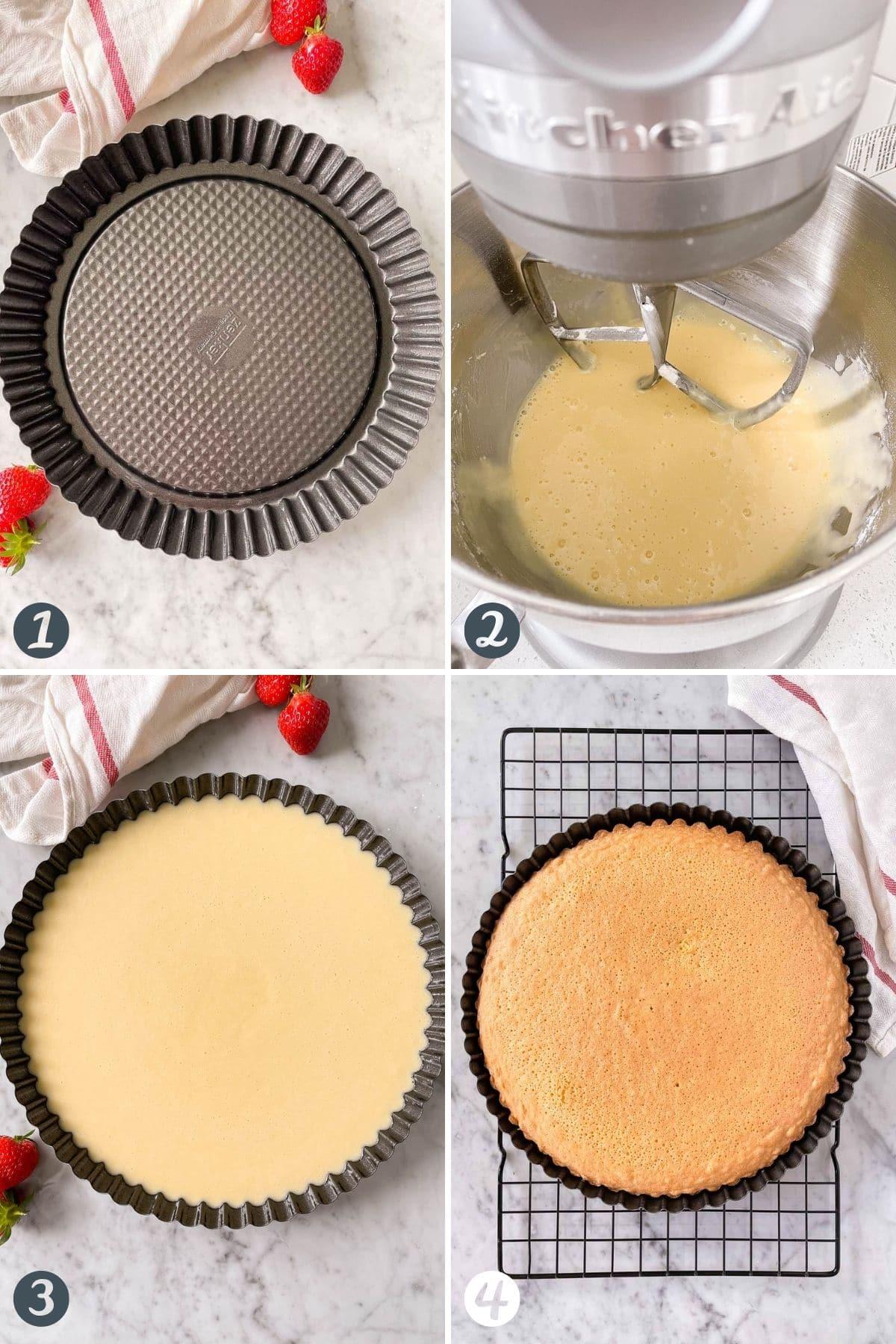 Steps for making a sponge cake