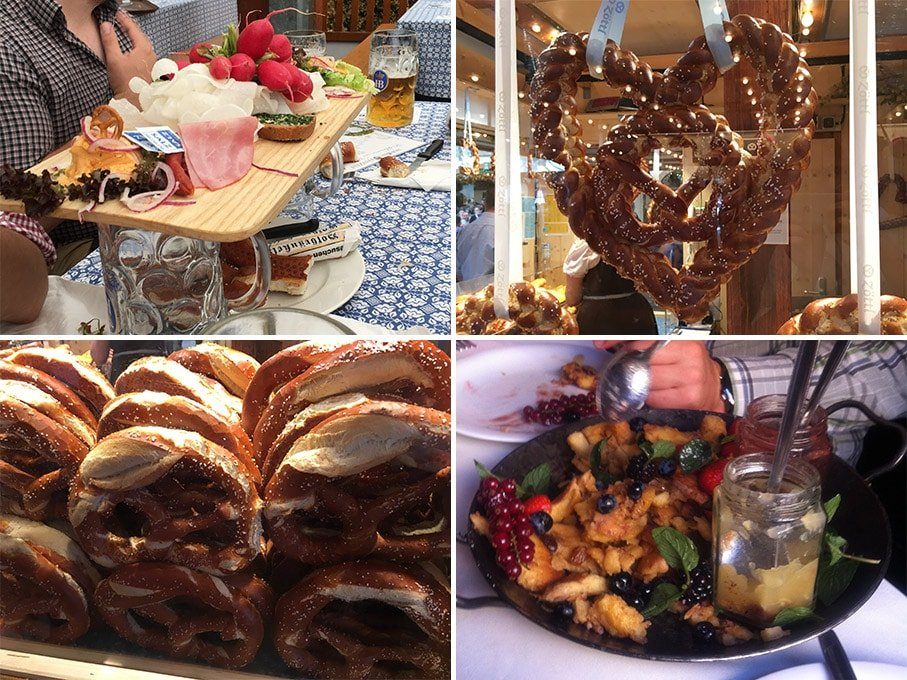 Collage of images showing food from the Oktoberfest